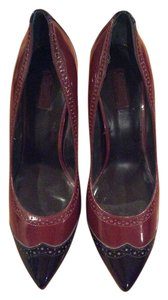 Zara Patent Leather Business Chic Burgundy & black Pumps
