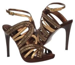 Carlos by Carlos Santana Suede Strappy Leather Ankle Strap Brown Sandals