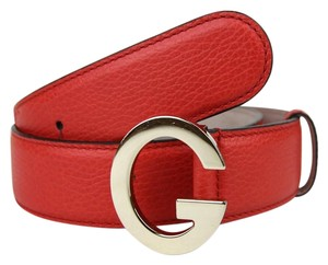 Gucci New Gucci Red Leather Belt w/Light Gold G Buckle 80/32 362732 6511