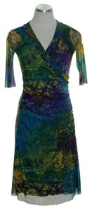 Weston Wear short dress Green Multi Faux Wrap Elbow Sleeves Mesh Knit on Tradesy