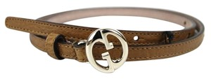 Gucci Leather Thin Skinny Belt w/Interlocking G Buckle 90/36 362731 2708