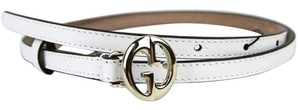 Gucci Leather Thin Skinny Belt w/Interlocking G Buckle 80/32 362731 9014