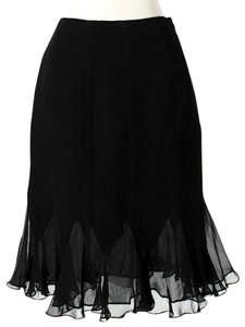Teri Jon Wool Sheer Skirt Black