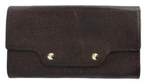MZ Wallace Brown Leather Flapover Wallet