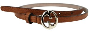 Gucci NEW Auth GUCCI Womens Leather Thin Skinny Belt w/Interlocking G Buckle 80/32 362731 7614