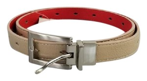 Other Nude and Red Diamond Cut-Out Reversible Belt