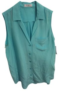 Equipment Sleeveless Keira Sleeveless Silk Top Aqua