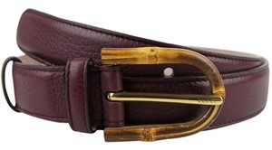 Gucci New Gucci Womens Burgundy Leather Belt w/Bamboo Buckle 100/40 322954 6149