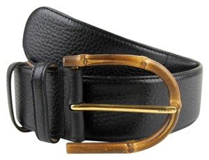 Gucci Wide Black Leather Belt w/Bamboo Buckle 75/30 322955 1000