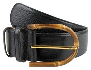 Gucci Womens Wide Black Leather Belt w/Bamboo Buckle 95/38 322955 1000