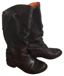 Diesel Slouchy Leather Mid-calf Dark Brown Boots