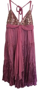 BCBGMAXAZRIA Beaded Silk Halter Satin Chiffon Dress