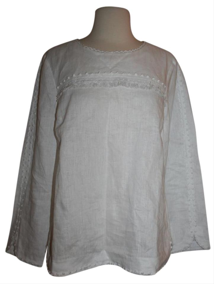 39dbc45c9cb16 J.Crew White Tall Embroidered Linen Blouse Size 6 (S) - Tradesy