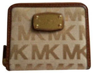 Michael Kors Authentic MKors Tan Zip-Around with Carmel Logo Small Wallet