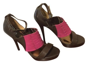 Charles Jourdan Pink Platform Brown Brown/Magenta Sandals