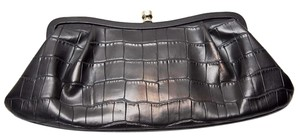 Banana Republic Leather Crocodile Skin-look Mirror Black Clutch