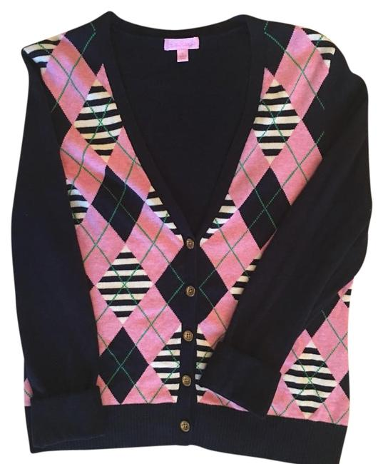 Item - Bubble Gum Pink Navy White and Kelly Green. Sweater Cardigan Size 14 (L)