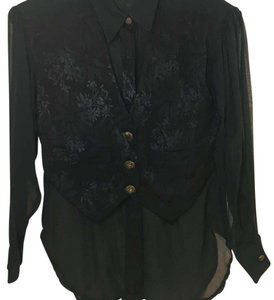 Sue Wong Button Down Shirt Black