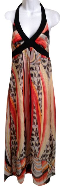 Item - Multi Color Halter Style Flowing Long Casual Maxi Dress Size 4 (S)