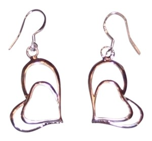 unknown Silver Double Heart Earrings
