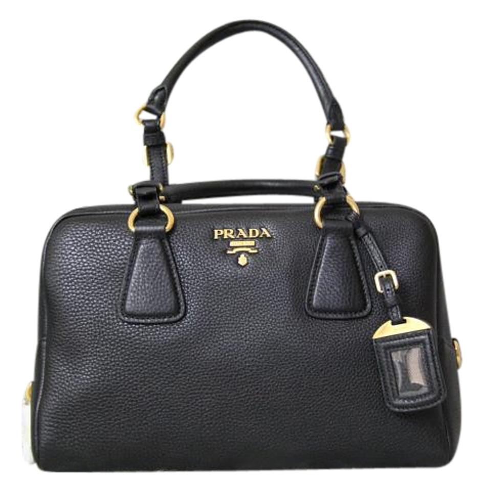63941077ee85cc Prada Bauletto Vitello Daino Nero B3091m Black Leather Satchel - Tradesy