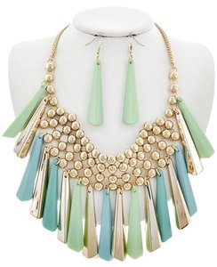 Gold, Mint, Light Blue Necklace & Earring Set