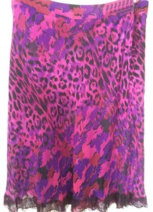 Dana Buchman Purple Silk Comfort Skirt Multi