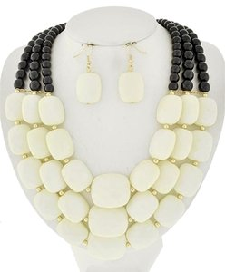 Other Gold, Ivory & Black Necklace & Earring Set