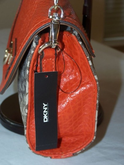 DKNY Orangr and Brown Clutch