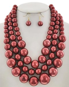Gold, Red Synthetic Pearl Necklace & Earring Set