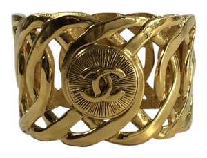 Chanel Chanel Gold Interlocking Wide Bracelet