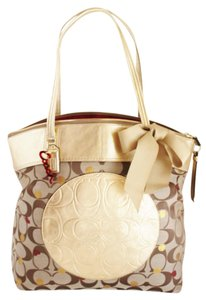 Coach Signature Jacquard Leather Gold Tote in Beige