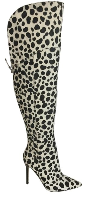 Item - White Multi Pony Naddly Haircalf Over-the Knee Boots/Booties Size US 5 Wide (C, D)