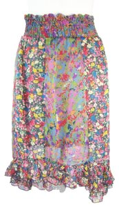 Fire Chiffon Patchwork Hi-lo Smocked Floral Chiffon Skirt Multicolor