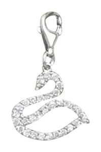 unknown Rhodium Plated CZ Swan Charm