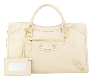 Balenciaga Leather Lambskin Studded Satchel in Tan