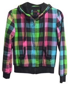 Yishion Fashion color plaid short section of thick hoodie
