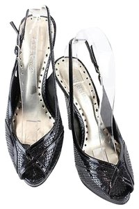 BCBGeneration Bcbgirls 7b Faux Snake Patent Open Toe High Heel Sling B105 Black Pumps