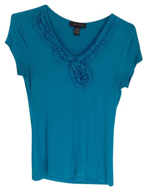 Cable & Gauge Ruffle T Shirt Teal