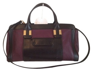 Chloé Marcie Leather Colorblock Alice Drew Satchel in Purple Black
