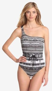 Calvin Klein One-Piece Black Wave Belted Swimsuit