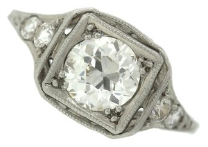 Antique Art Deco Platinum 0.96ctw Old European Diamond Filigree Engagement Ring