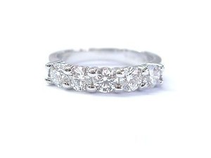 Fine Round Cut Diamond Shared Prong 5-stone Anniversary Band Ring 4mm 14k 1.10ct
