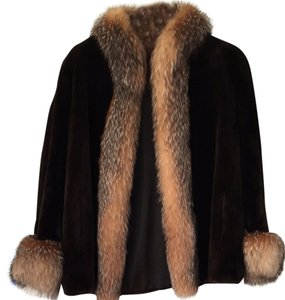 Fur coat with fox trim Fur Coat
