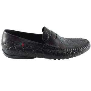Gucci 170618 Mens Gg Web Detail Driver Loafers Black 13.5 G 14.5