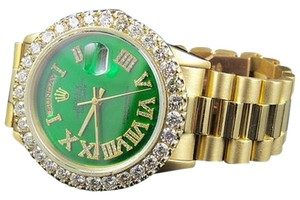 Rolex 18k Yellow Gold Mens Rolex Green Dial President Day-date Prong Diamond Watch 6.3