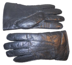 unknown leather rabbit fur lined gloves