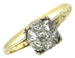 Ladies Antique Victorian 14K Yellow White Gold 0.28ctw Diamond Engagement Ring
