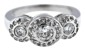 Ladies 14K Solid White Gold .90CTW Diamond Engagement Ring 5.8Grams Size 4.75