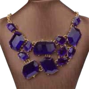 Fashion Necklace Bright Purple Jewel-Tone Bib Necklace